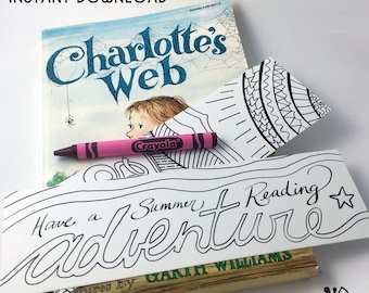 Summer Fun Coloring Bookmarks for Little Readers INSTANT DOWNLOAD