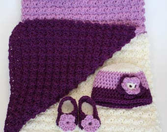 Crochet Baby Blanket, Flower Hat and Booties, Purple, Lavender and White