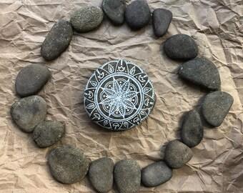 Hand Painted Rock: Mandala Stone, Meditation, Yoga, Bohemian decor