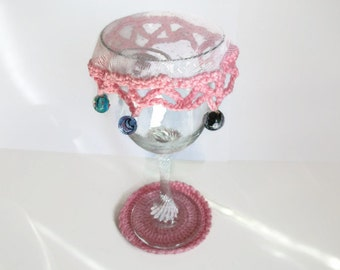 Beaded Glass Cover and Coaster. Pink. Spring, Summer, Outdoors, Alfresco, Picnics. Home Accessories.