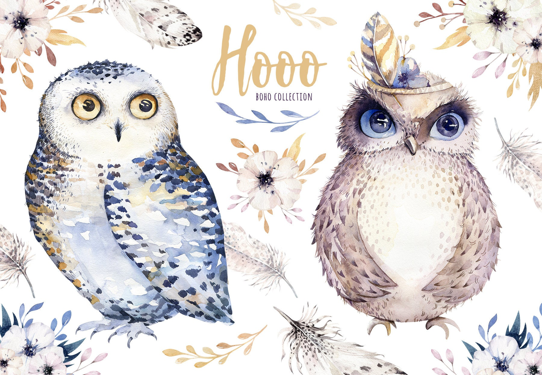 Hand Drawn watercolor owls,feather and flower. Nursery ...