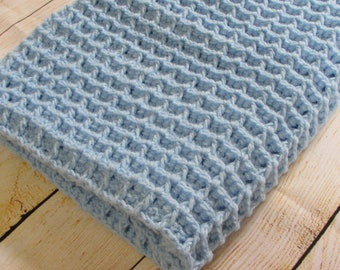 Blue Baby Blanket, Crochet Waffle Blanket, Baby Boy Blanket