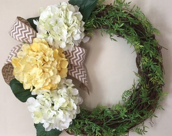 Yellow Hydrangea Wreath. Spring Wreath. Summer Wreath. Mother's Day Wreath. Housewarming Gift. Spring Decor
