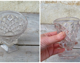 Vintage Antique Bistrot glass 1900 French  faceted