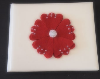 Guest Book Ivory Red Choose Flower Color