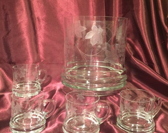 Etched Glass Grapevine Ice Bucket with 4 gandles glasses