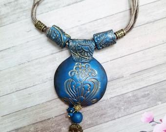 DEEP BLUE Polymer Clay Fashion Jewelry, Ethnic necklace set, Handmade Jewelry, Festive Jewelry, Gift