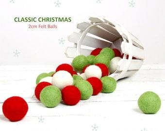 Felt Balls // Christmas Decoration // DIY Garland // DIY Mobile // Classic Christmas Felt Balls // 2.5 cm // 30 count