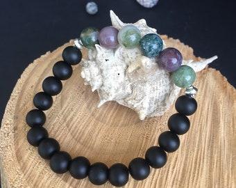 Agate Gemstone & Black Matte Onyx Bracelet, Green Agate Gemstone Bracelet,Beaded Women Bracelet
