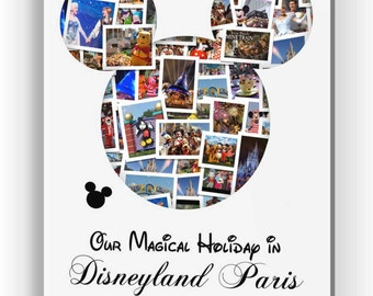 Personalised Disneyland Holiday Mickey Mouse Photo Collage Canvas, Print or Digital Copy