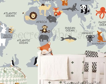 World map decal etsy nursery wall decal wall decal nursery world map gumiabroncs Image collections