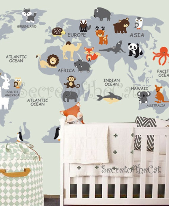 Nursery wall decal wall decal nursery world map decal like this item gumiabroncs Gallery
