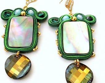 Emerald green tabac Swarovski statement earrings , 16k gold filled zirconia earrings  , soutache bead embroidered earrings wedding  gift