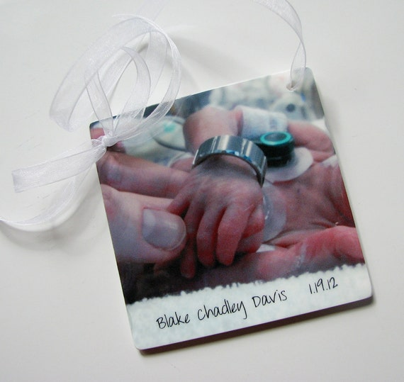 Christmas Photo Ornament, Perfect for Holidays or New Baby Gifts - OOS