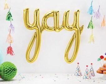 Gold Yay Script Balloon Banner