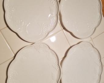 Harvest Grape Milk Glass Snack Plates- set of 4