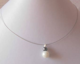 Wedding gray and white pearls duo necklace