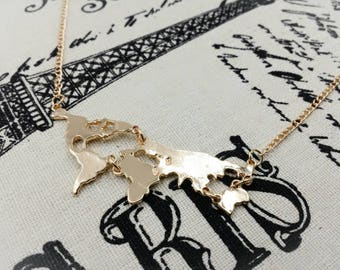 World Map Necklace, World Necklace, Earth Necklace, Globe Pendant Necklace, Atlas Map Necklace, Travel Globe Bon Voyage