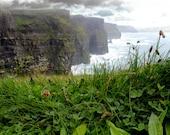 Cliffs of Moher, Irish landscape, County Clare, Ireland photo, travel photography, Atlantic ocean, Wild Atlantic Way, green clover