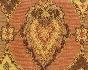 Brown and Rust Woven Medallion Fabric - Earthy Medallion Designer Upholstry Fabic - Moroccan Style Medallion in Terracota and Brown and Gold