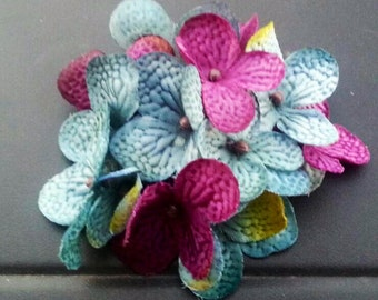 Artificial hydrangea hair clip, hair accessory teal, plum hair clip, customizable