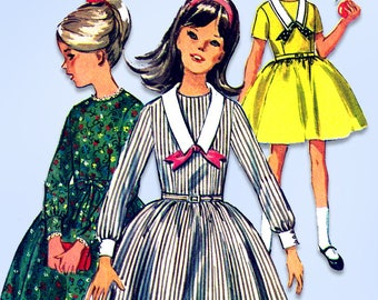 1960s Vintage Simplicity Sewing Pattern 6069 Sweet Uncut Girls Dress Size 8
