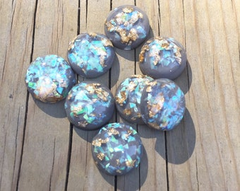 Grey mermaid gold fleck 12mm earring cabochons - 8 pieces