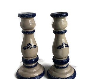Vintage Spongeware Pottery   Large Candle Holder   Ecru and Blue  1996