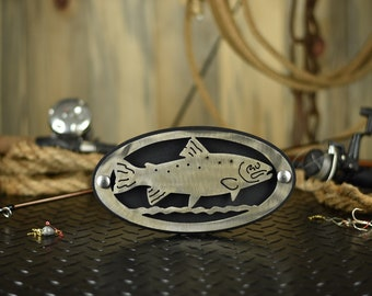 Rainbow Trout Hitch Cover | Brushed Steel Powder Coat Finish | Fishing Gifts | Metal Art Fishing Decor | Gone Fishing