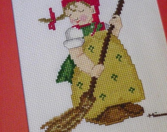 Hummel Cross Stitch, Framed Little Sweeper Counted Cross Stitch, Wall Home Decor itsyourcountry
