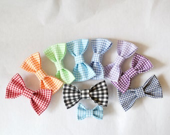 Gingham Dog Bow for Boys and Girls - Boy Dog bow tie - Girl dog bow - Wedding bow - Matching bow and collar - Gingham collar accessory