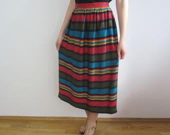 vintage retro 80s 90s Rustic Folk Striped Midi skirt S M