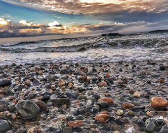 Washed Pebbles - Wells Beach, Maine - Photography
