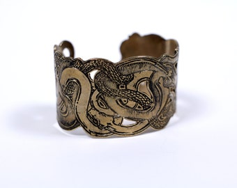 The Serpents // extra wide arm band in bronze or sterling silver with highly detailed etch // Roving Beasts