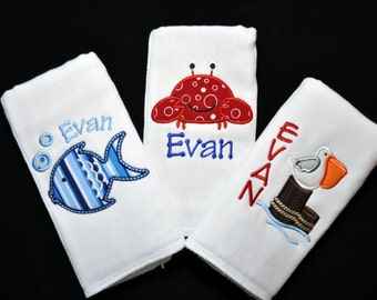 Set of 3 Personalized Baby Boy Burp Cloths (or Bibs) Great Gift
