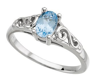 925 Sterling Silver March Imitation Aquamarine Youth March Birthstone Ring USA 5