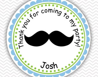 Mustache Bash - Personalized Stickers, Party Favor Tags, Thank You Tags, Gift Tags, Address labels, Birthday, Baby Shower
