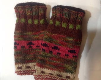 Fingerless Gloves, Fingerless Wrist Warmers,Brown Fingerless Mittens, Gloves, Women's Gloves, typing gloves