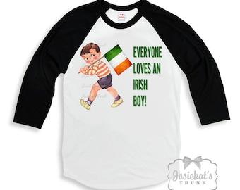 "Irish Shirt Boy - ""Everyone Loves an Irish Boy "" -St Patrick Day Shirt - Ireland Boy Tee - Black White Baseball Custom Size Retro Vintage"