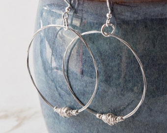 Silver Guitar String Hoop Earrings, Recycled Jewelry, Handmade Metal Art, Upcycled Musician Gifts, Hannukah, Kwanzaa, Christmas