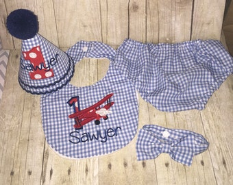 Boys Cake Smash Outfit - Blue Gingham - Vintage Airplane- Diaper Cover, Bow Tie & Birthday Hat - Boys Birthday Outfit  First 1st Birthday