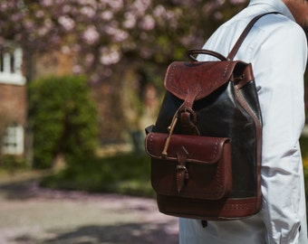 Rudy leather rucksack/ backpack in two tone leather