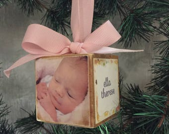 Baby's First Christmas Photo Block Ornament