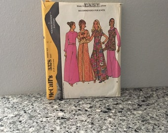 Misses bell bottom jumpsuit with roll collar & vest pattern vintage Rare 1972 McCalls 3378 UNCUT size 12 knit fabric long or short sleeve