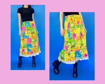 Vintage 70s Yellow and Rainbow Floral Patchwork Print High Waisted Long Maxi Skirt