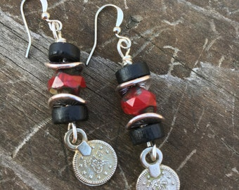 Boho Earrings, Hippie Earrings, Black and Red Earrings, Dangle Earrings