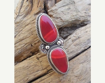 ON SALE Two stone ring handmade in sterling silver 925 with two beautiful red Rosarita stones