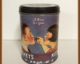 Vintage Hersheys Kisses Tin Can, A Kiss for You, 1995