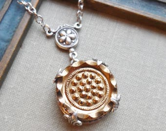 Gold Rush, Vintage Glass Button Necklace, Silver Ox