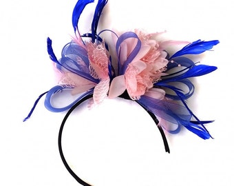 Royal Blue & Baby Pink Feathers Fascinator On Headband